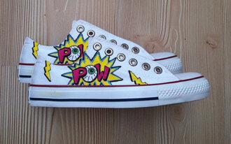 shoes pow converse comic shoes comicbook eyeball eyeballs superhero marvel comic book kawaii pop art