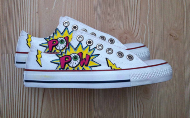shoes pow converse comic shoes comicbook eyeball eyeballs superheroes superheroes comic book kawaii pop art