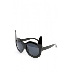 Black Cat Ears Circle Sunglasses | MakeMeChic.com