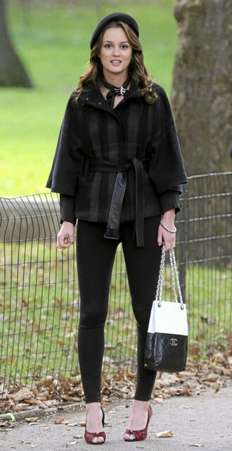coat leighton meester beret chanel bag bag chanel blair waldorf gossip girl