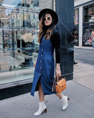 dress denim dress hat sunglasses bag boots white boots midi dress button up