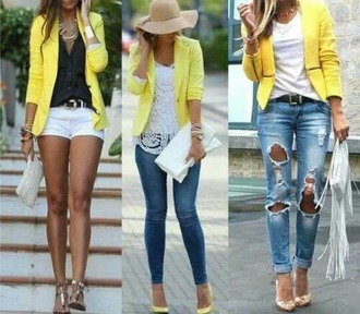jacket jaune veste yellow chic