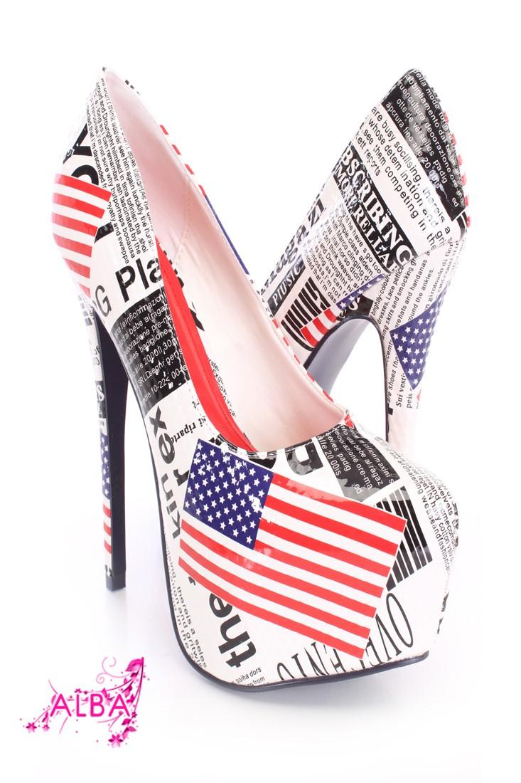 American Flag News Print Pump Heels Patent