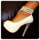shoes,white,pearl,high,heels,white pearl heels,wedding,crystal,jewels,high heels,white high heels,diamond high heels,white heels,diamonds,peep toe heels,perl ankle bracelet,sparkle,wedding shoes,gold,silver,bling,jewerly,white pumps with pearls s,white shoes,silver shoes