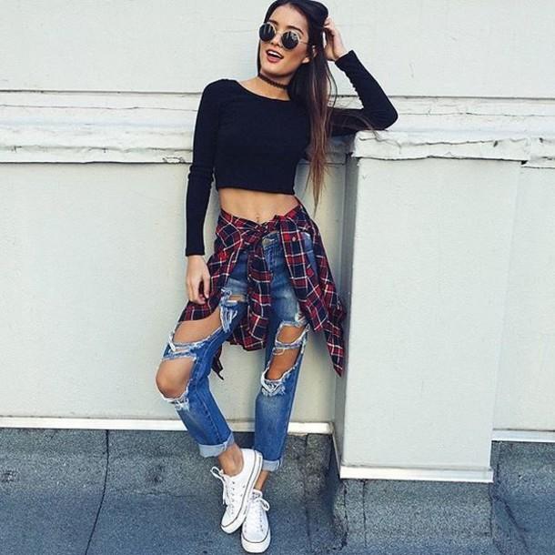 46ef050f93f0ea shirt flannelette shirt tartan shirt black long sleeve top black crop top  ripped jeans mid wash