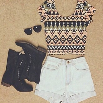 shirt tribal pattern crop tops cute aztec shorts shoes sunglasses light blue tank top blouse