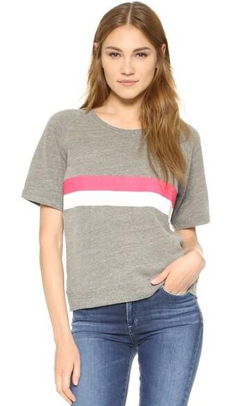 sweatshirt short stripes grey heather grey sweater