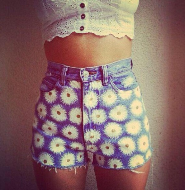 shorts cute flowers short denim shorts painting summer shorts