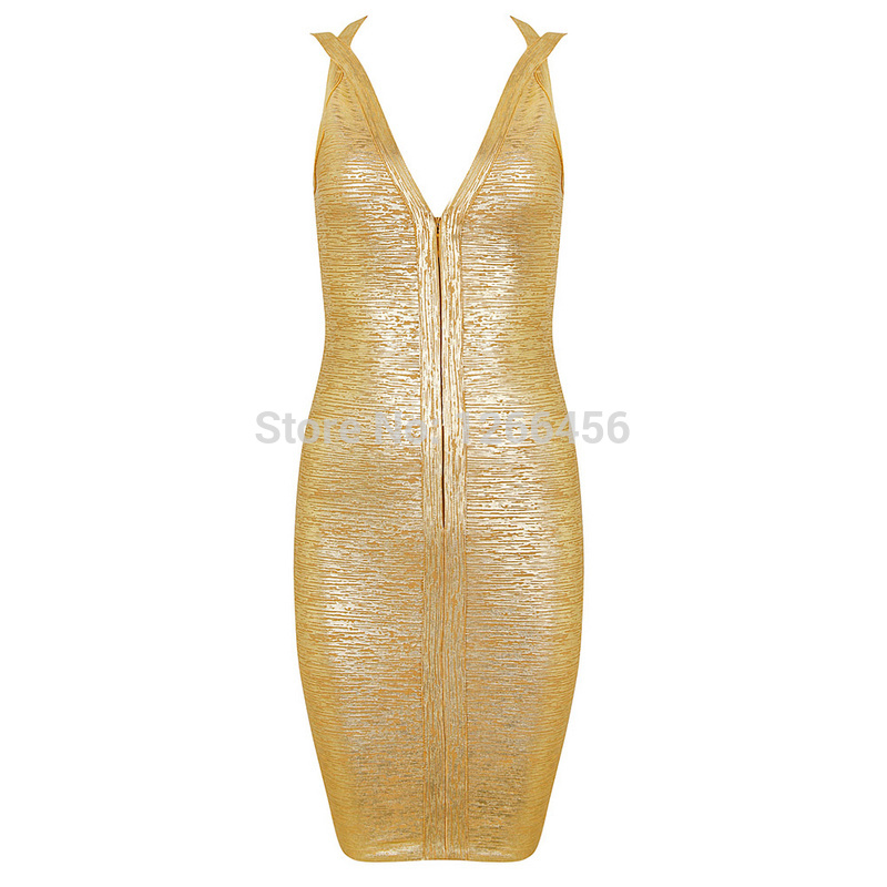 Aliexpress.com : Buy 2014 Charming Backless Deep V Zipper in Front Night Club Dress Rayon Cocktail Foil Golden Bandage Dress Good Quality H1003 from Reliable dress love suppliers on Lady Go Fashion Shop