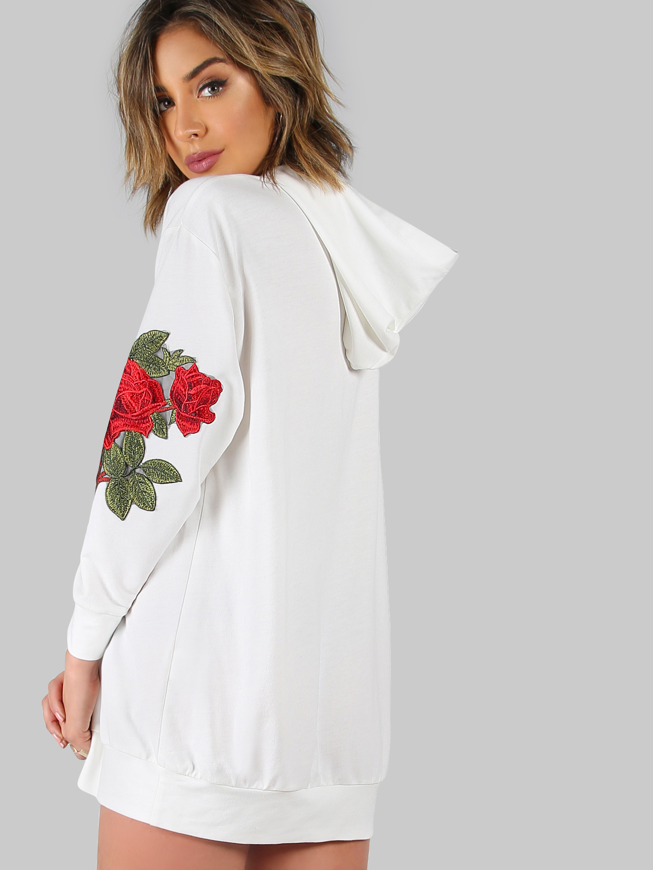 White Drop Shoulder Oversized Hoodie Dress -SheIn(Sheinside)