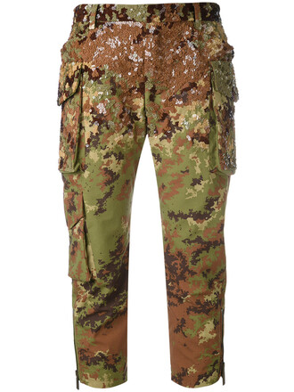 cropped women camouflage plastic pants