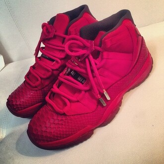 red sneakers red shoes sneakers high top sneakers air jordan 11 air jordan