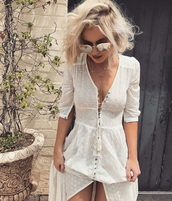 dress,white dress,white,summer dress,summer,botton,white bottons,white botton,linen,long dress,white long dress