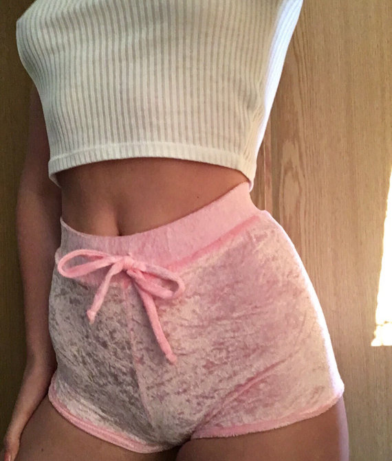 Pink Crushed Velvet High Waisted Shorts: Loungewear