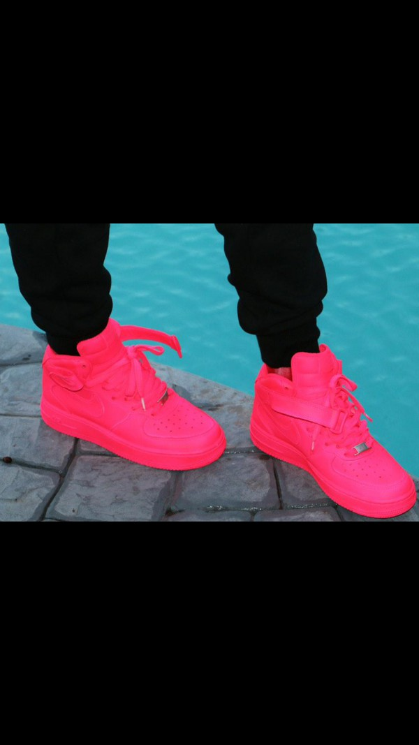 shoes air forces hot pink neon pink nike air force  1s. nike air nike air force 1 high top nike shoes nike high tops socks pink dress style cute dress black dress nike running shoes pink nike dope nicki minaj style nice luxury beautiful nike air force custom sneakers nike air force 1 womens air force 1s all neon pink nike hightops i prefer sneakers over boots but i can do both because im not basic get like me smooches $$$$