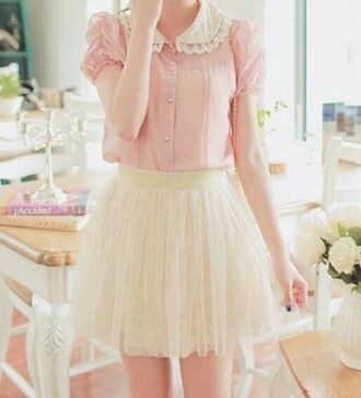 skirt romantic frilly ruffle pink blouse pink girly girly outfits tumblr mini skirt tulle skirt date outfit pastel pastel pink collar