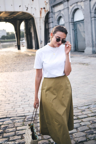skirt tumblr midi skirt khaki t-shirt white t-shirt bag sunglasses