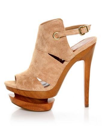 Jessica simpson cat camel suede slingback platform heels