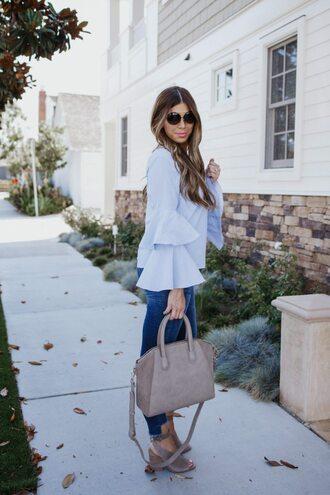 mint arrow blogger top jeans shoes bag sunglasses