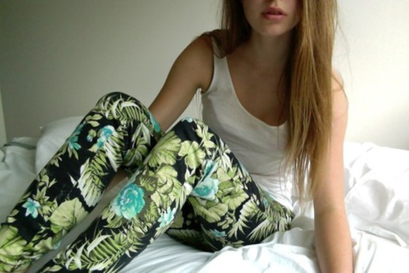 blue jeans flowers green trousers girl white black