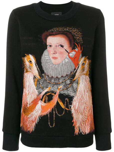 Katya Dobryakova - lady dog sweatshirt - women - Cotton/Spandex/Elastane - S, Black, Cotton/Spandex/Elastane