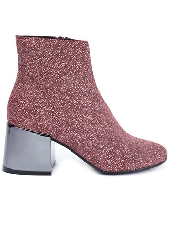 heel metallic boots ankle boots red shoes
