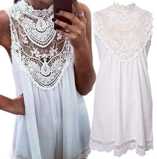 Sleeveless Lace Flower Mini dress