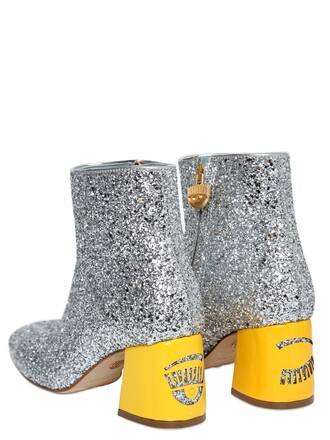 glitter boots ankle boots silver yellow shoes