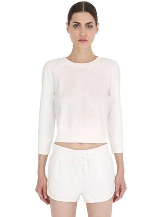 sweatshirt fit cotton white sweater