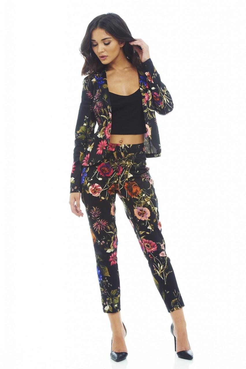 Black Base Floral Printed Trousers
