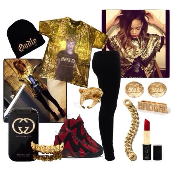 blouse rihanna gold shoes pants hat jewels t-shirt