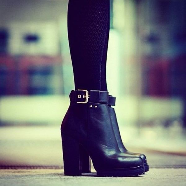 shoes black ankle boots boots buckle boots