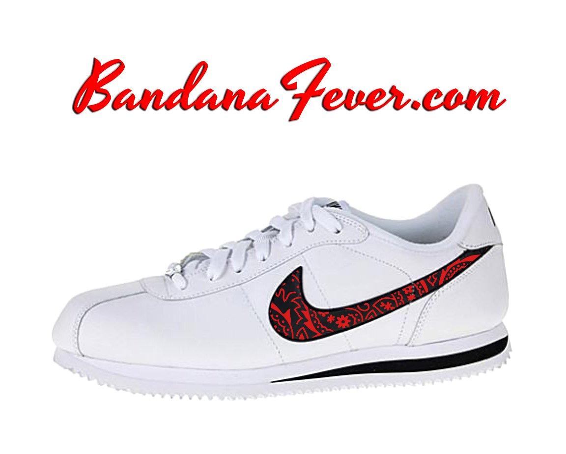 Custom Red Bandana Nike Cortez Leather