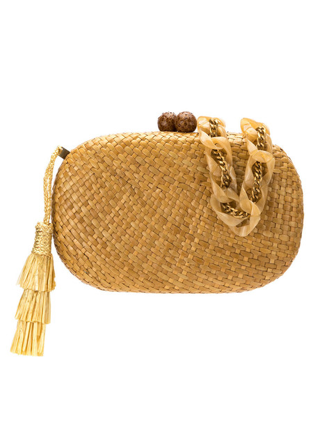 Serpui tassel women clutch nude bag