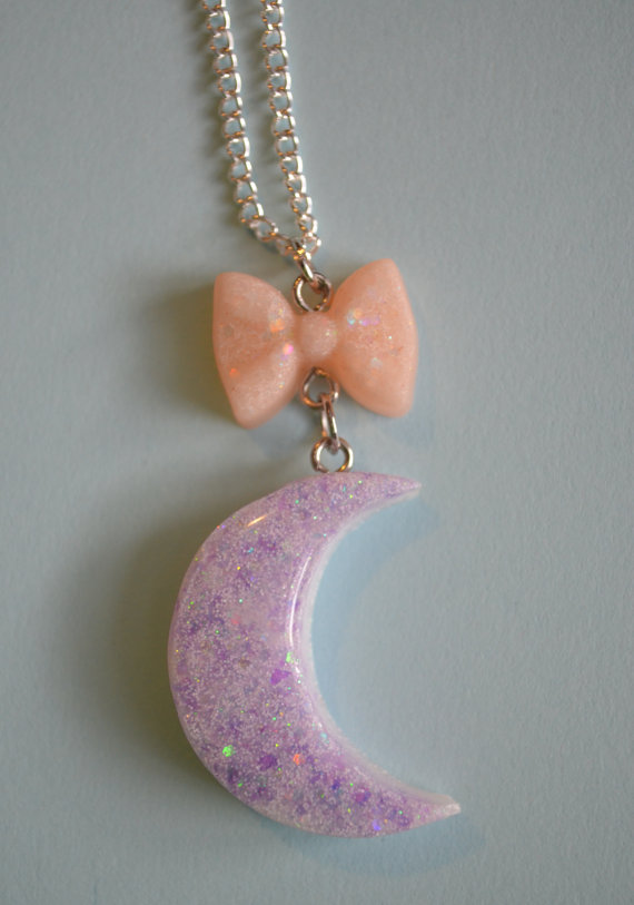 Pastel Moon and Bow Necklace Purple and Pink by TheBetterSweater