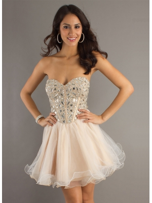 Buy Beautiful Sweetheart Ball Gown Organza Prom Dress with Rhinestones under 200-SinoAnt.com