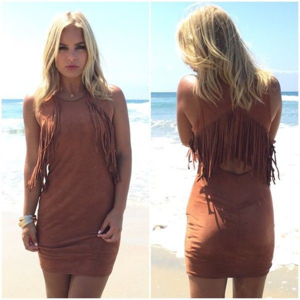 dress brown suede dress fringed dress bodycon dress