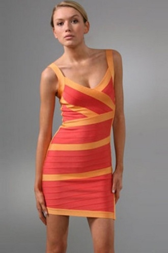 dress orange orange dress colour block bandage bandage dress v neck sleeveless party party dress wots-hot-right-now