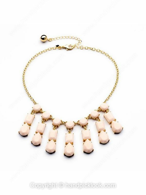 Pink Gemstone Geometric Tassel Gold Chain Necklace - HandpickLook.com