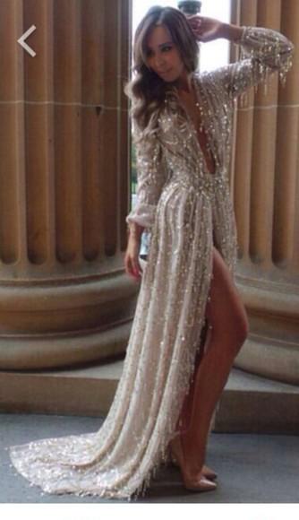 sparkly slit dress evening dress