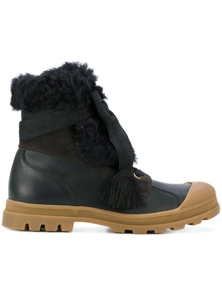 Chloe shearling boots fur women chunky sole leather black shoes