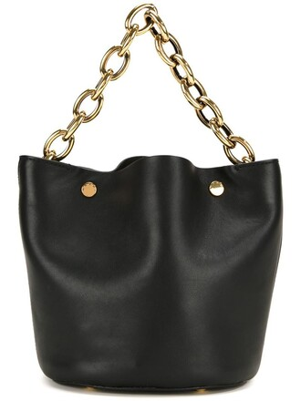 metal women leather black wool bag