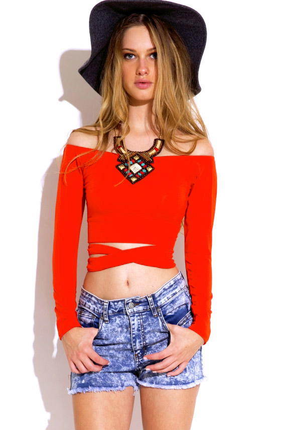 Orange Red Off Shoulder Long Sleeve Self Wrap Indie Crop Top Acoustic Romance
