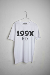 white top,graphic tee,shirt,white tee,white shirt,quote on it,90s style,cool,kids fashion,t-shirt,white,199x,black,kid,black and white,blouse,90's shirt,grunge,alternative,rock,punk,white t-shirt,print,indie,tumblr,1995,generation,199x kid,t shirt print,printed t-shirt,casual,summer,cool shirts,grunge t-shirt