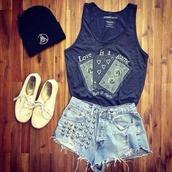 top,shirt,dark blue,colorful,cool,cute,beautiful,sneakers,hat,t-shirt