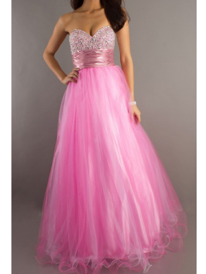 Buy Gorgeous Pink Ball Gown Sweetheart Floor Length Prom Dress under 200-SinoAnt.com