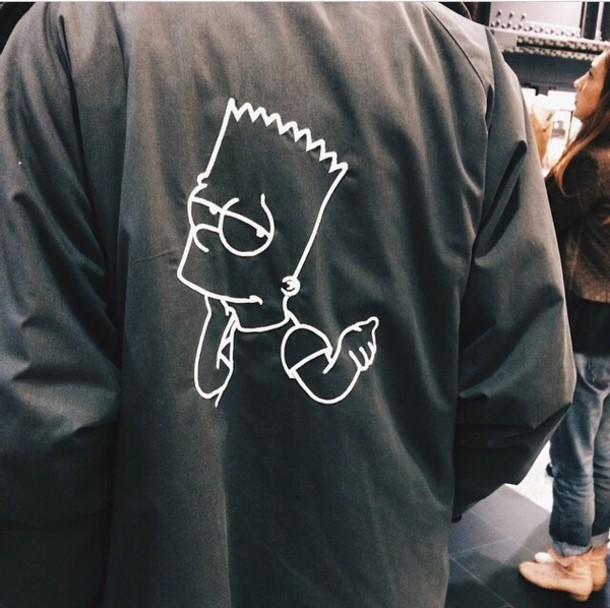 jacket the simpsons black jacket bart simpson black white grunge tumblr coat sweater grey