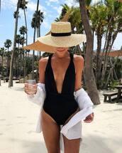 swimwear,hat,tumblr,one piece swimsuit,black swimwear,sun hat