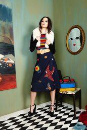 skirt,fur collar,embroidered denim skirt,midi skirt,blue skirt,top,striped top,sandals,sandal heels,high heel sandals,black sandals,editorial,long sleeves,fall outfits