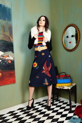 skirt fur collar embroidered denim skirt midi skirt blue skirt top striped top sandals sandal heels high heel sandals black sandals editorial long sleeves fall outfits